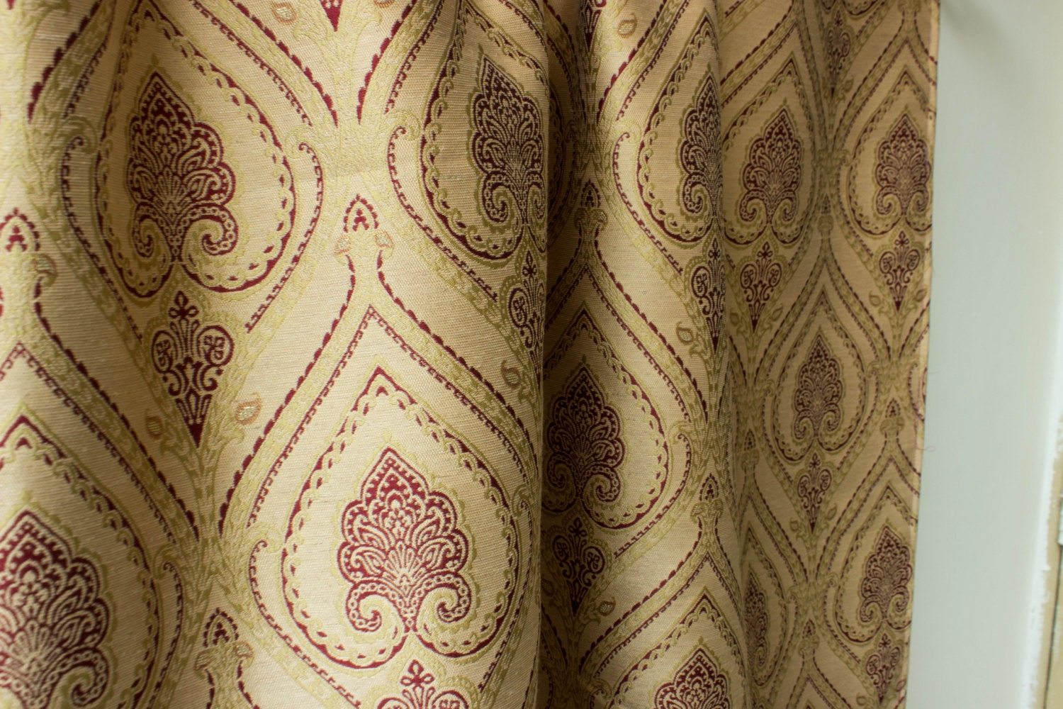 moroccan pair of curtain panels 50 beige gold red by fabricasia