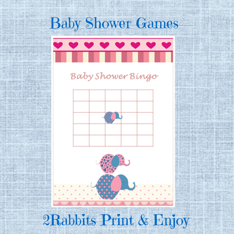 pink elephant girl baby shower baby shower bingo gift game