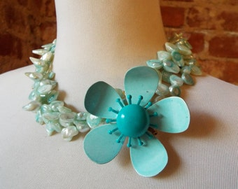 OOAK Teal Green Blue Mother of Pearl Multistrand Statement Necklace