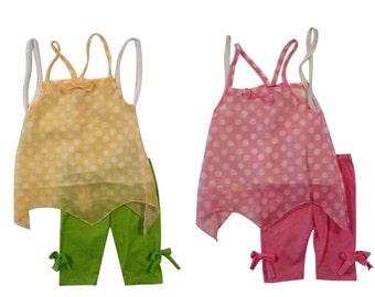 3874- 2 pc girls toddler POLKA DOT SHEER  print