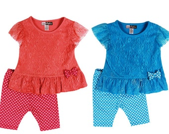 3879- 2 pc girls toddler LACE printed set