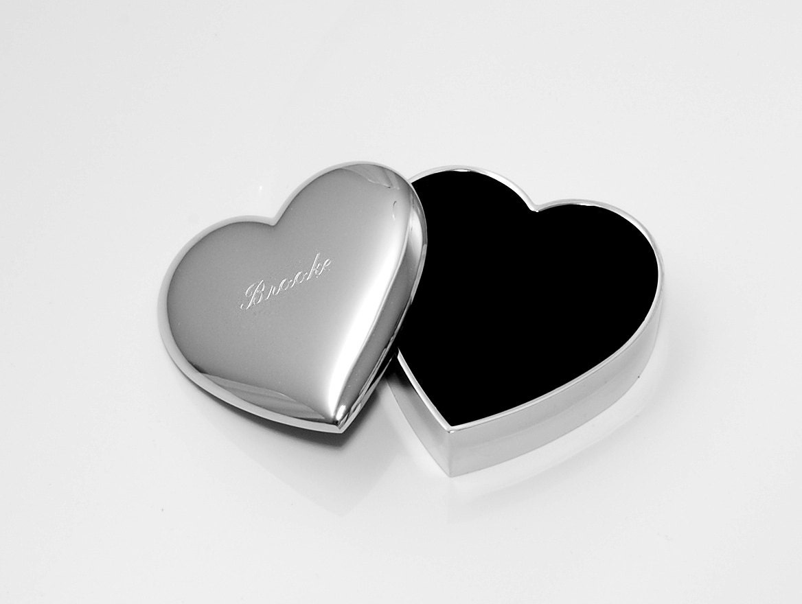 Engraved jewelry box personalized heart jewelry box for for Heart ring box