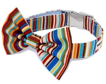Noddy & Sweets Adjustable Metal Clasp Dog Collar with Bow Tie  [Brighton Rock Blue]