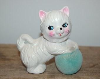 Vintage Ceramic Kitten, Japanese White Cat, Blue Ball of Yarn, Ceramic Cat
