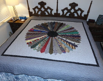 One of a kind 80x86 sized quilt made with mens neckties
