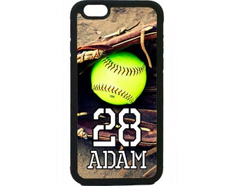 Personalized Number and Name Softball Case for iPhone 4 4s 5 5s 5c 6 6s 6 Plus iPod Touch