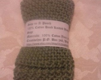 100% Cotton Hand Knitted Washcloth - Very Soft in Sage
