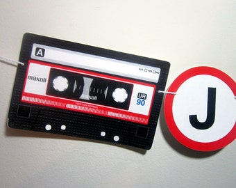 80's Birthday Banner - Cassette Tape Banner - 80's Party Decorations