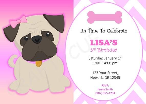 Pug Birthday Invitation Puppy Party Invitation Dog Party – Dog Party Invitation