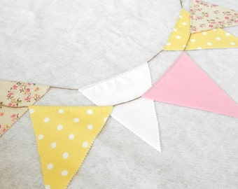 Floral Fabric Banner Garland Bunting 9 Feet