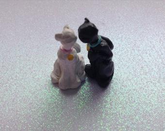 Handmade Cat Figurine Hand Painted Polymer Clay feline Sculpture
