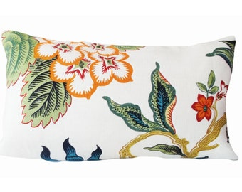 Hothouse Flowers Throw Pillow Cover - Decorative Pillow - Solid Linen Back - 12x20, 14x18, 14x24, 18x18, 20x20, 22x22
