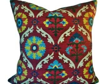 Waverly Suzani Mayan Decorative Pillow Cover - Throw Pillow - Accent Pillow - Toss Pillow - Both Sides - 14x24, 18x18, 20x20