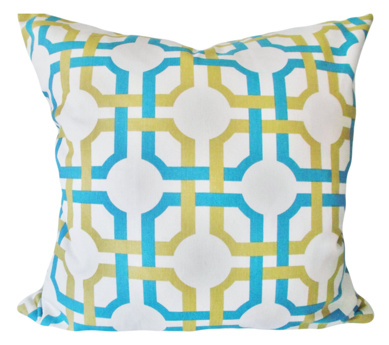Waverly Decorative Throw Pillows : Waverly Blue Geometric Trellis Throw Pillow Cover Decorative