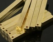 """20 pcs Raw Brass square stamping bar 5 x 50 mm 3/16"""" x 2""""  finding square rod industrial design (2 mm 5/64"""" 12 gauge hole ) sbl50"""