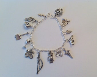 Greek Mythology Charm Bracelet, Jewelry, Olympians, god, goddess, myth, legends, fantasy, magic, Athena, Apollo, Zeus, Ares, Poseidon, Hera