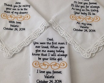 Set of three Mother of the groom mother of the bride and father of the bride  custom made personalized handkerchief hankie gift from bride