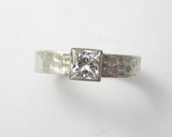 Forever One Moissanite Engagement Ring. 14K White Gold, Princess Cut Moissnaite, Square Hammered Band, Unique,Ethical