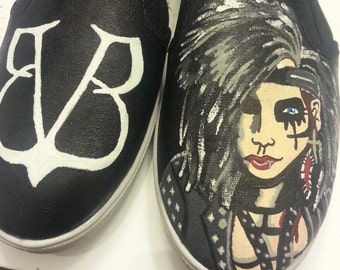 Black Veil Brides inspired hand painted shoes
