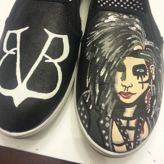 black veil brides inspired painted shoes