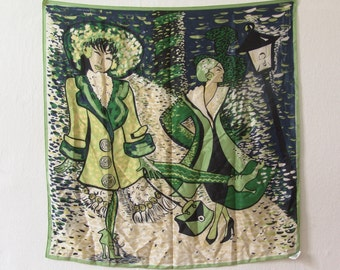 Silk scarf Elégance Paris vintage scarf Paris Seine green blue 100% Silk