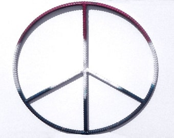 Rebar Art 20 Inch Peace Sign Metal Wall Hanging Home Patio Decor Hand Made