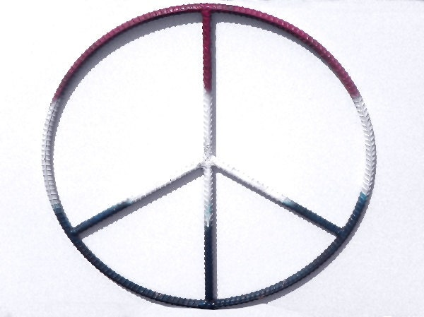Rebar Art 20 Inch Peace Sign Metal Wall Hanging Home Patio