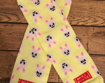 Yellow and pink Easter bunny legwarmers