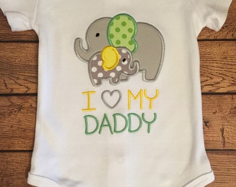 """Grey, Green, and Yellow """"I love my Daddy"""" Elephant Shirt or Baby Bodysuit"""