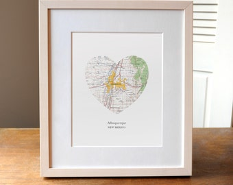 Albuquerque New Mexico Heart Map Print, New Mexico Art, Albuquerque City Print, Custom Art Print