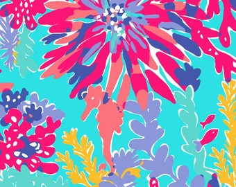 RARE! Lilly Trippin & Sippin Cotton Twill Fabric FQ Free Ship