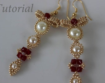PRF tutorial beaded earrings Bow_Swarovski crystals_pearl_seed bead_beading