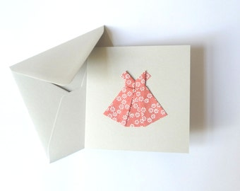 Origami dress card pink flowery paper
