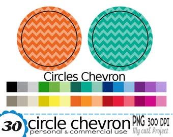 Circle chevron - Clipart - 30 colors - 30 PNG files - 300 dpi - Instant download  - CA01