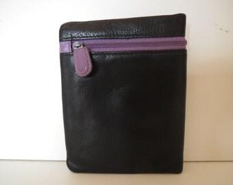 Black purple wallet purse leather wallet VTG