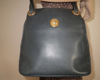 Black leather look shopper bag vintage