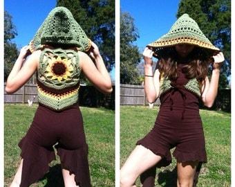 Sunflower mandala hooded shrug tie front vest