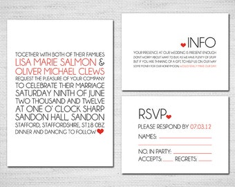 Printable Wedding Invitation - Modern Typography