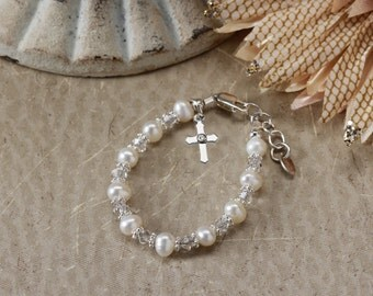 Sterling Silver First Communion Bracelet with Freshwater Pearls, Crystals, and Cross for First Communion Gift for Girls (004)