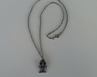 Antique Silver Owl Charm Necklace