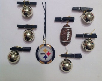 Beard Art Baubles Football Black and Gold Hipster Set 8 FTB  Black Clip Pittsburgh Steelers