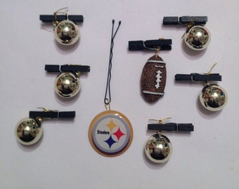 Beard Art Baubles Football Black and Gold Hipster Gift set of 8 FTB Custom Black Clip Pittsburgh Steelers