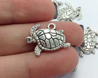 10 Sea Turtle Charms, Silver Turtle Charms, Nautical Charms, Beach Charms (1-1152)