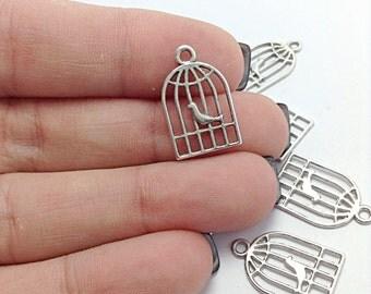 BULK 50 Bird Cage Charms, Silver Cage Charms, Bird Charms, Animal Charms, Bulk Charms (5-1121)