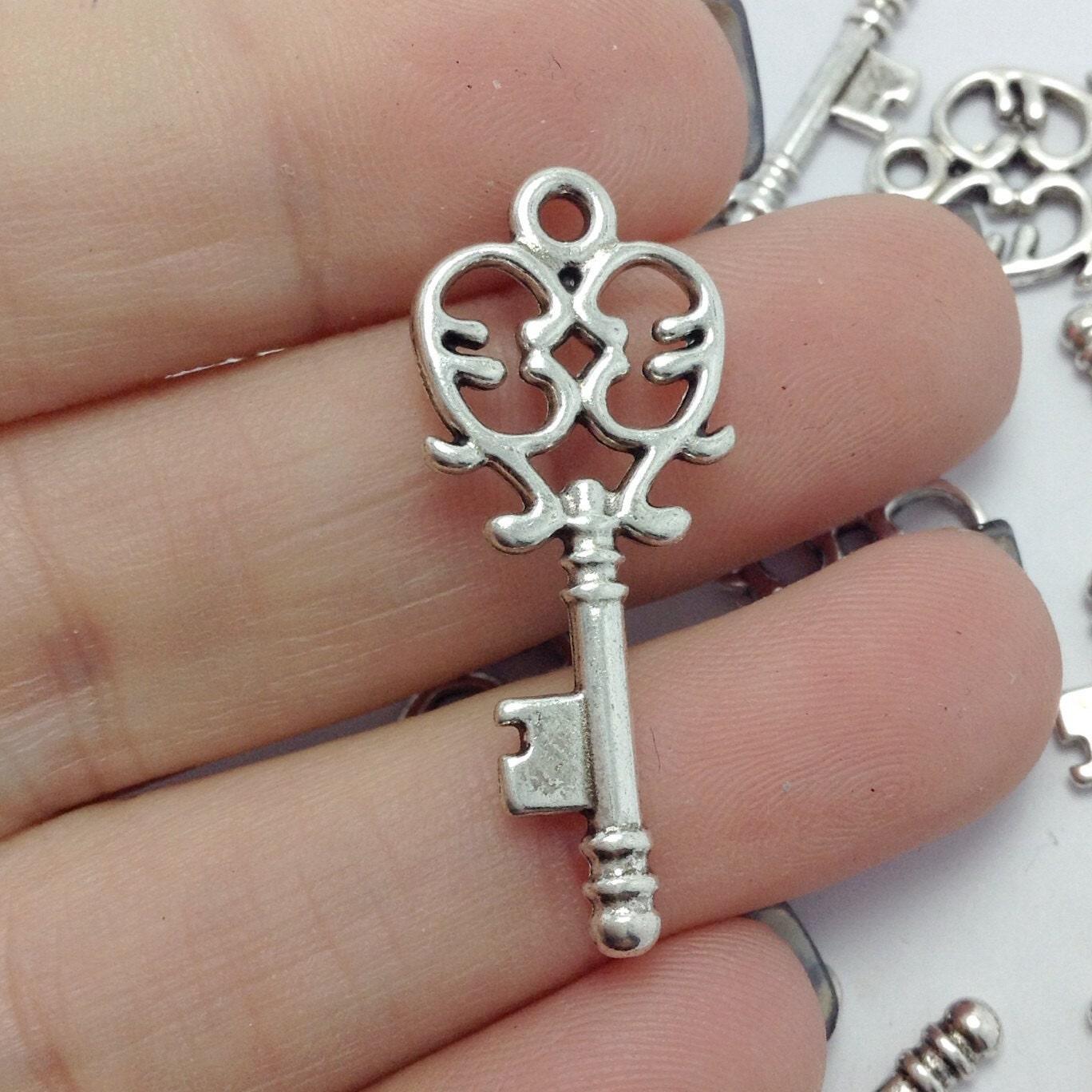 bulk 40 key charms skeleton key charms silver key charms