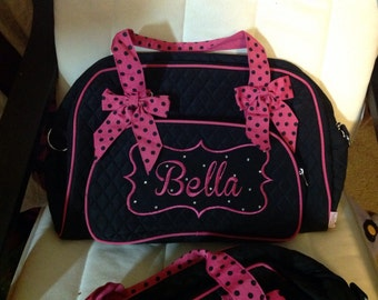 Pink and black  Overnight tote bag