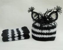 RTS Crochet Baby Hat and Leg Warmer Set, Baby Zebra Hat, Crochet Baby Leg warmers, Zebra Legwarmers, Newborn Hat, Infant Hat, Black