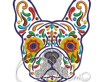 MACHINE EMBROIDERY DESIGN - Calavera French Bulldog, Dia de los muertos, Mexican design, Halloween design, calavera dog, Day of the dead