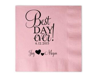 100 Personalized Napkins Personalized Napkins Bridal Shower  Wedding Napkins Custom Monogram Best Day Ever