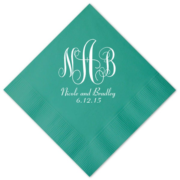 100 Personalized Napkins Wedding Napkins Custom Monogram